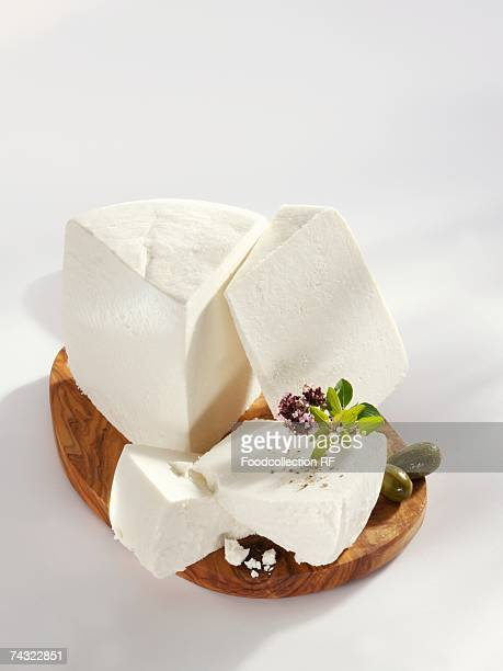 Ricotta on a wooden board