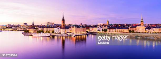 riddarholmen and gamla stan skyline in stockholm at twilight, sweden - stockholm stock pictures, royalty-free photos & images