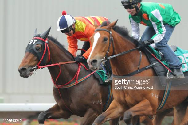 WIN CHANCE ridden by Ben So Tikhung and NAVEL ORANGE ridden by Howard Cheng Yuetin trial in batch 10 over 1200Metres at Sha Tin on 04Mar14