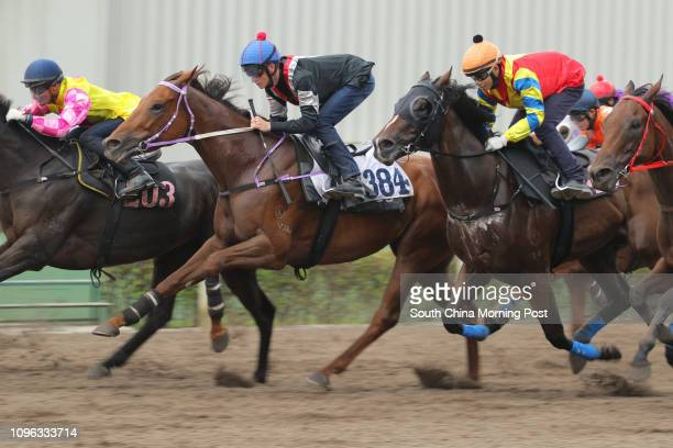 DOWN ridden by Chad Schofield ATOMIC BLAST ridden by Karis Teetan and STARRY STARLIES ridden by Jack Wong Honam trial in batch 5 over 1050Metres at...