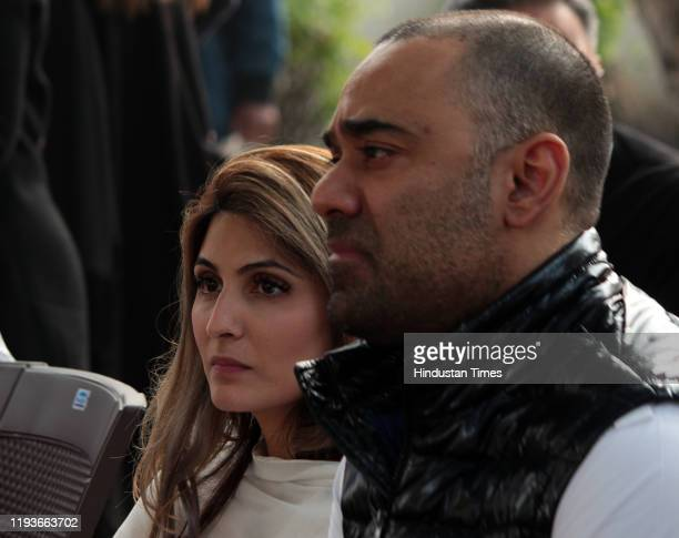 Riddhima Kapoor Sahni at the funeral of Ritu Nanda at Lodhi Road Crematorium on January 14 2020 in New Delhi India Ritu Nanda late actor Raj Kapoor's...