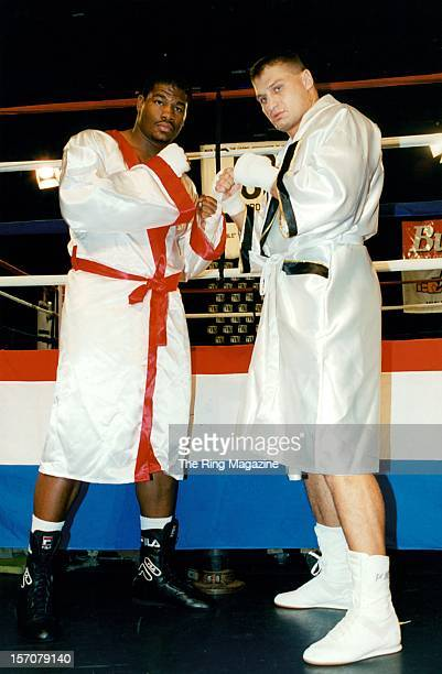 Riddick Bowe and Andrew Golota pose during a press conference promoting the upcoming fight on October 171996 in New YorkNew York