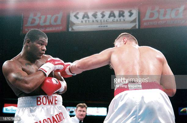 Riddick Bowe is hit with a left jab from Andrew Golota during the fight at Madison Square Garden New York New York Riddick Bowe won by a DQ 7
