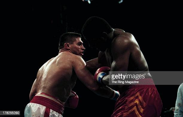 Riddick Bowe lands a punch against Andrew Golota during the fight at the Convention Center Atlantic City New Jersey
