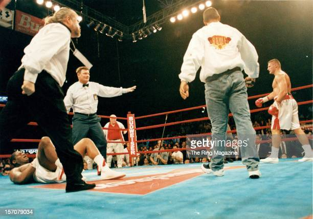 Riddick Bowe lays on the canvas after being knocked down by Andrew Golota at Madison Square Garden New York New York Riddick Bowe won by a DQ 7