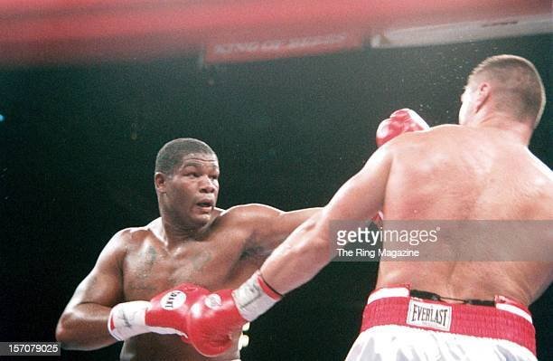 Riddick Bowe throws a left hook against Andrew Golota during the fight at Madison Square Garden New York New York Riddick Bowe won by a DQ 7