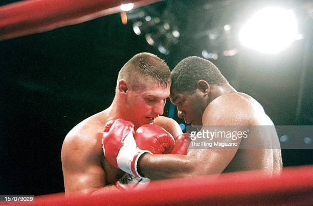 Riddick Bowe throws a left punch to Andrew Golota at Madison Square Garden New York New York Riddick Bowe won by a DQ 7