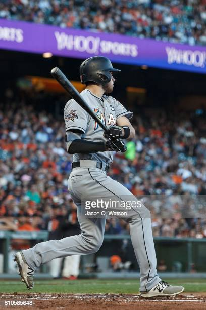 Riddle of the Miami Marlins hits a two run single against the San Francisco Giants during the first inning at ATT Park on July 7 2017 in San...