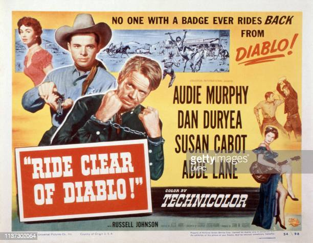 Ride Clear Of Diablo US lobbycard from top left Susan Cabot Audie Murphy Dan Duryea bottom right Abbe Lane 1954