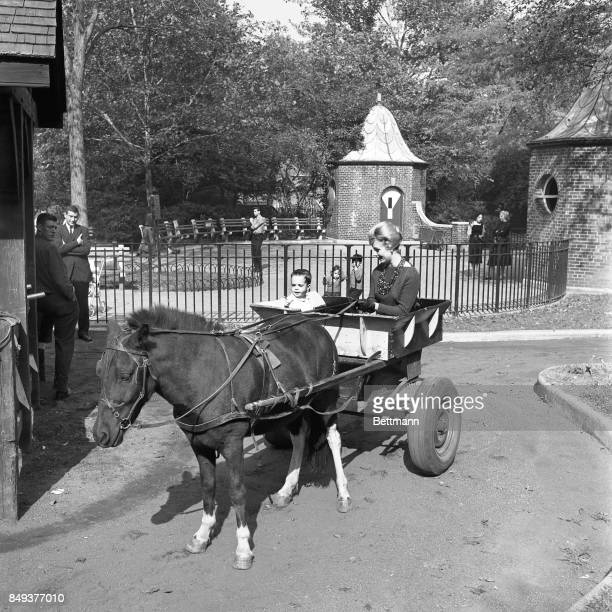 A ride in a pony cart is an unexpected treat for Shaun Cassidy as he and his mom Shirley Jones clipclop around the zoo area of Central Park for his...