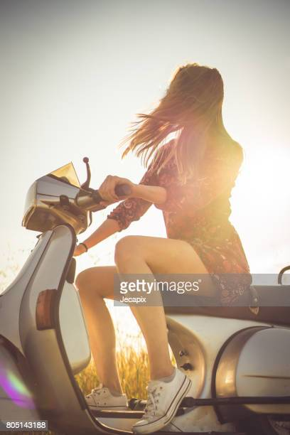 ride of the day - moped stock photos and pictures