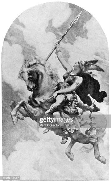 'Ride of the Valkyries' Scene from Richard Wagner's opera The Valkyrie showing Brunhilde bearing a wounded warrior to Valhalla