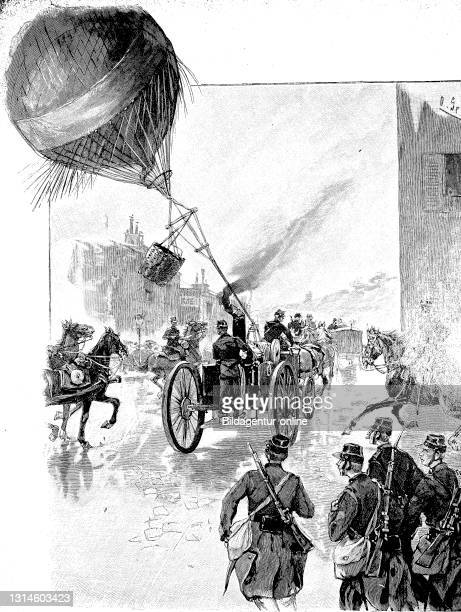 Ride with the captive balloon during the French maneuvers, France, Franco-Prussian War 1871-1872 / Fahrt mit dem Fesselballon bei den französischen...
