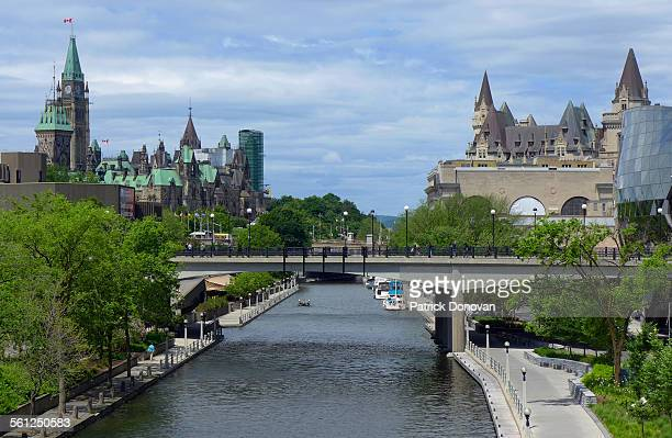 Rideau canal and Canadian Parliament in Ottawa
