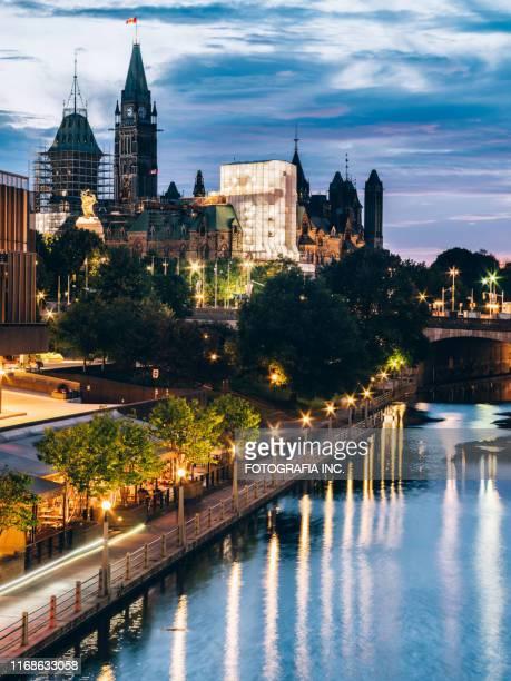 オタワのリドー運河建築 - リドー運河 ストックフォトと画像