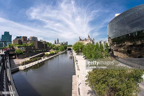 Rideau Canal in downtown Ottawa through fisheye