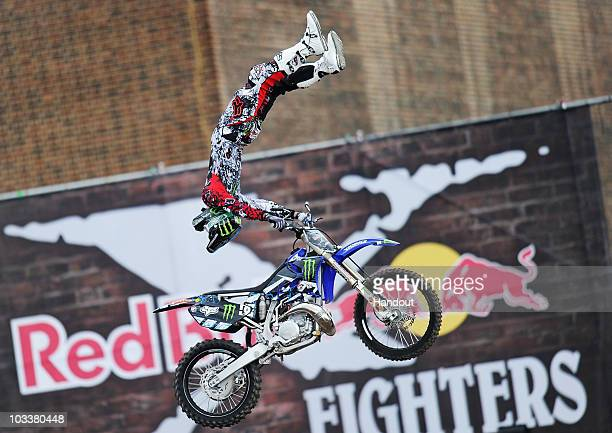 US rider Adam Jones performs during the qualifying for the Red Bull XFighters world tour stop on August 14 2010 in London England