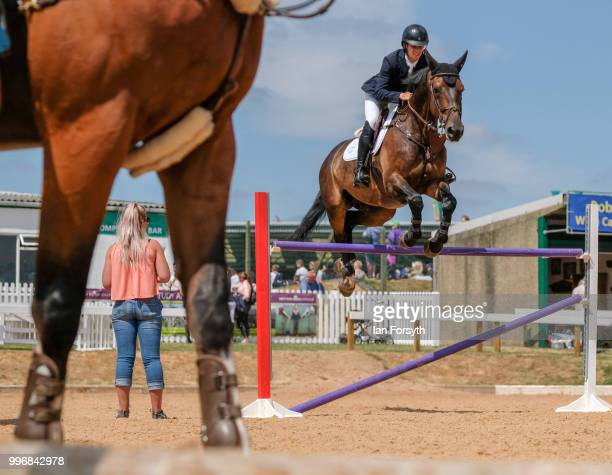 A rider and her horse warm up ahead of competing during the 160th Great Yorkshire Show on July 10 2018 in Harrogate England First held in 1838 the...