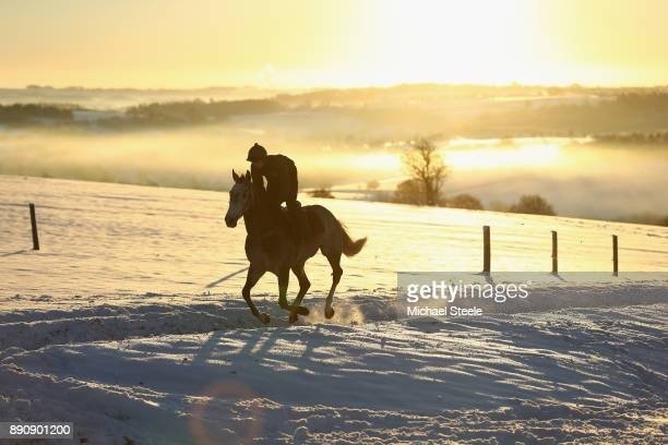 A rider and horse workout in heavy snow conditions during the morning gallops at the yard of national hunt trainer Nigel TwistonDavies on December 12...