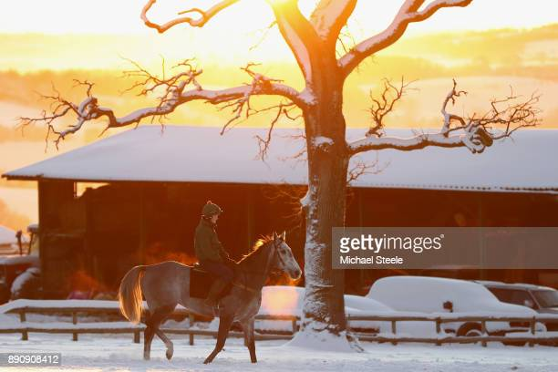 A rider and racehorse head out for the third lot during morning gallops at the yard of national hunt trainer Nigel TwistonDavies on December 12 2017...