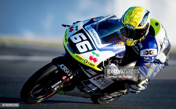 Rider Andreas Perez of Spain and REALE AVINTIA ACADEMY team in action during The Moto3 Junior World Championship on November 19 2017 in Cheste Spain