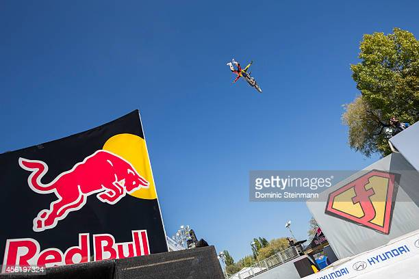 FMX rider Clinton Moore of Australia during the Style Session run at freestylech Zurich on September 27 2014 in Zurich Switzerland