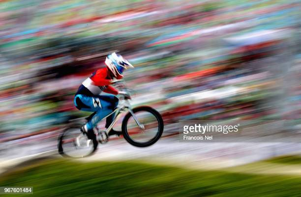 A rider competes during day one of the UCI BMX World Championships at BMX Velopark on June 5 2018 in Baku Azerbaijan