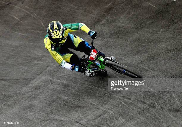 Rider competes during day one of the UCI BMX World Championships at BMX Velopark on June 5, 2018 in Baku, Azerbaijan.