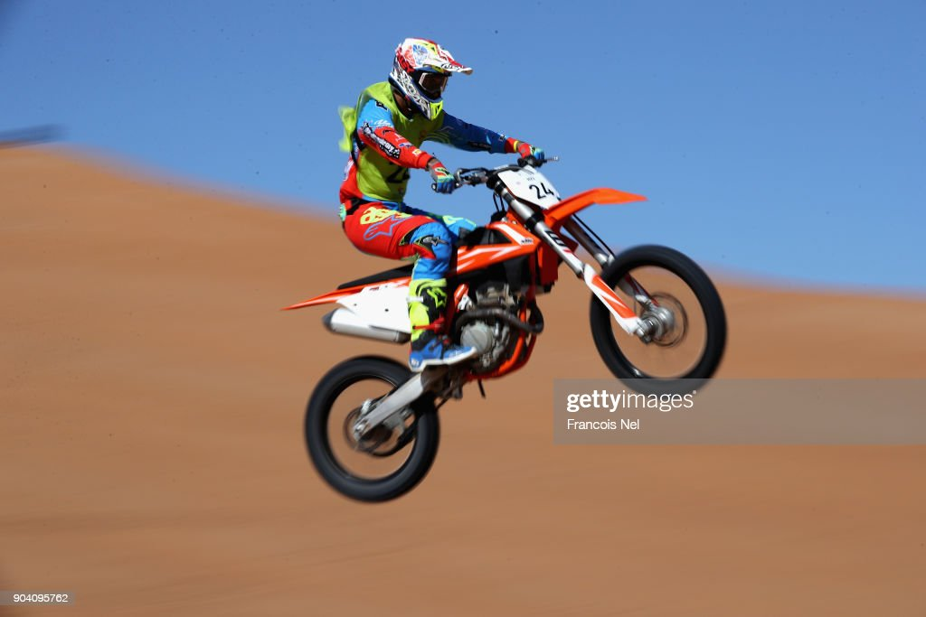 A rider competes during the Sharjah Sports Desert Festival at Al Badayer on January 12, 2018 in Sharjah, United Arab Emirates.