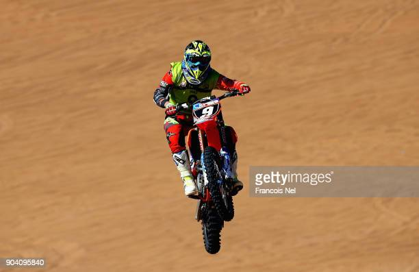 A rider competes during the Sharjah Sports Desert Festival at Al Badayer on January 12 2018 in Sharjah United Arab Emirates