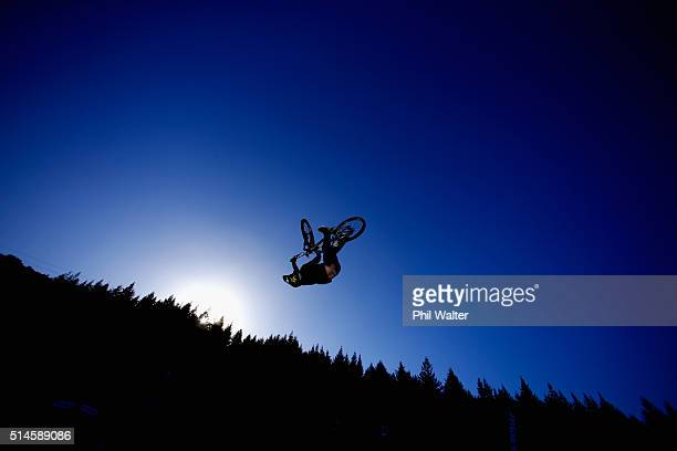 A rider competes in the Dual Speed and Style Final on Day Two of the Crankworx Mountainbike Festival on March 10 2016 in Rotorua New Zealand