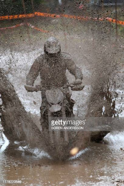 A rider competes in the Gotland Grand National enduro race at Tofta airport near Visby Sweden October 26 2019 / Sweden OUT