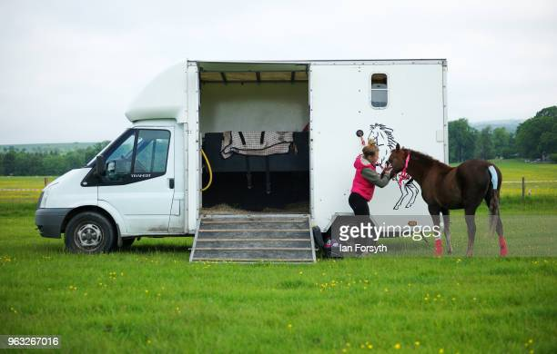 A rider grooms her horse ahead of competing during the Duncombe Park Country Fair on May 28 2018 in Helmsley England Set in the grounds of one of...