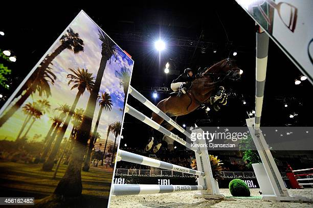 Rider Hannah Selleck rides Barla during the Amalaya Investments Trophy class as part of the Longines Los Angeles Masters at Los Angeles Convention...