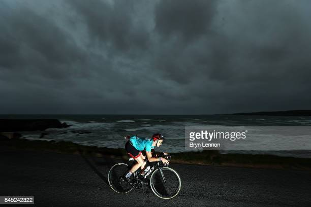 A rider in action during IRONMAN Wales on September 10 2017 in Tenby Wales