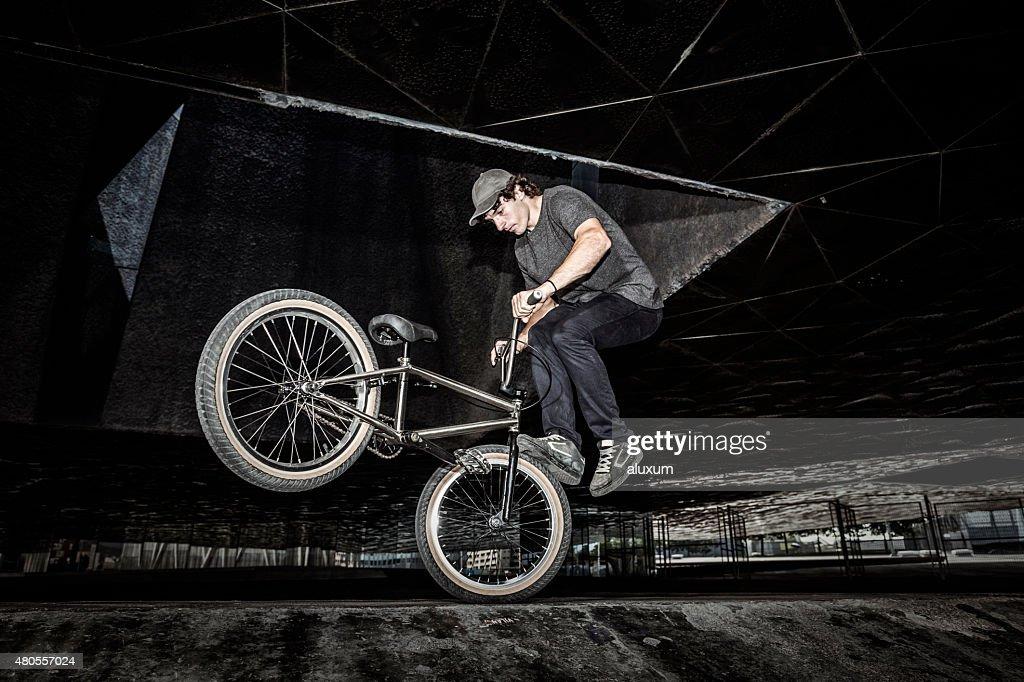 BMX rider in city : Stock Photo