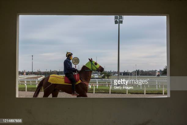A rider is seen from a barn during training during competition day as Uruguay slowly returns to normal due to coronavirus outbreak at Maroñas Horse...