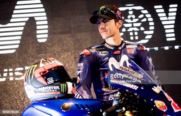 Rider Maverick Vinales attends the Movistar Yamaha Team Presentation 2018 on January 24 2018 in Madrid Spain