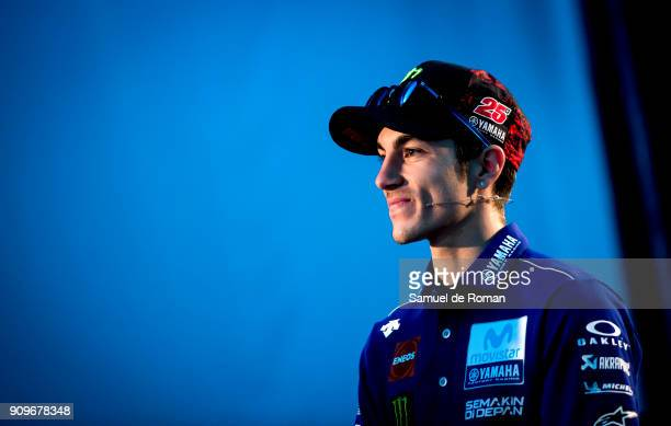 Rider Maverick Vinales attends the Movistar Yamaha Team Presentation 2018 on January 24 2018 in Madrid Spain