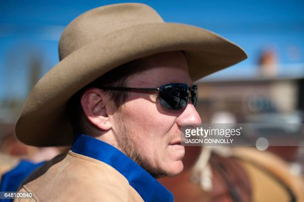 Rider Nick Ehlenfeldt of Leadville Colorado waits for the start of the 68th annual Leadville Ski Joring weekend competition on Saturday March 4 2017...