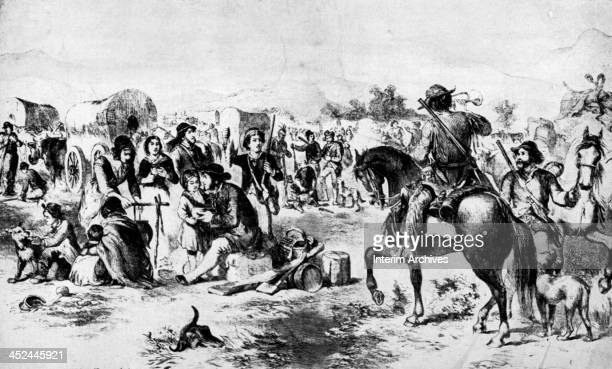 A rider on horseback blows a bugle to rouse a group of pioneers camping on the Oregon Trail 1856
