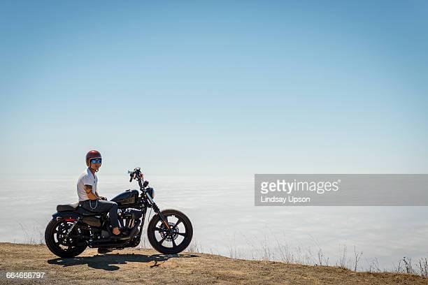 rider on motorbike, mount tamalpais, california, usa - 乗る ストックフォトと画像