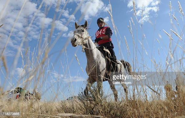 A rider participating in the National Fauresmith Horse Endurance Race on July 5 2011 in Kimberley South Africa The race sees participants competing...