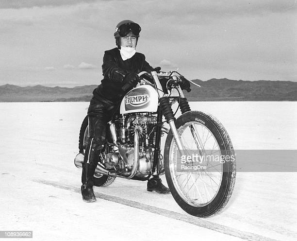 A rider prepares to make a speed run on his Triumph motorcycle at the Bonneville Salt Flats