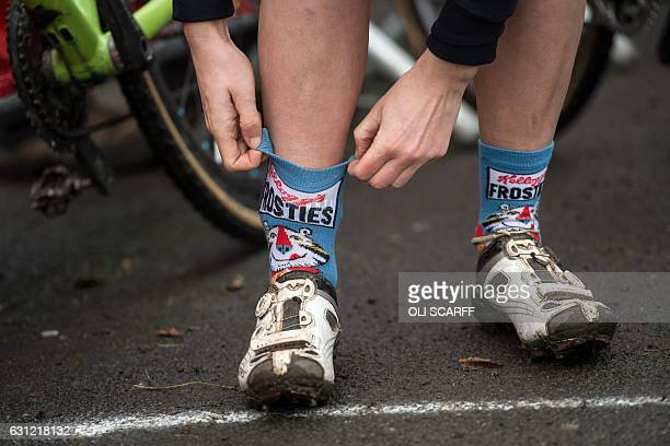A rider pulls up her novelty Frosties socks before competing in the Elite Women's Championship on the second day of the 2017 British Cycling National...