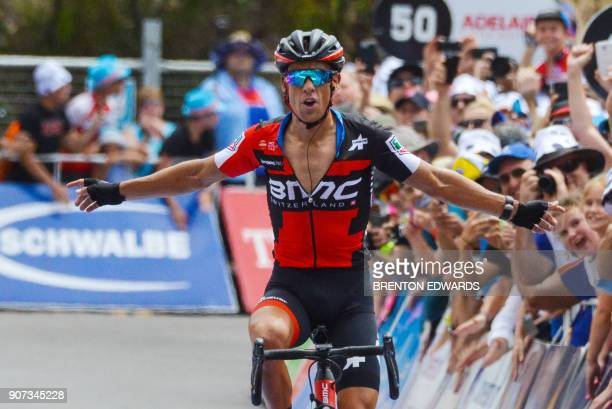 BMC rider Richie Porte of Australia wins Stage 5 on the fifth day of the Tour Down Under cycling race in Adelaide on January 20 2018 / AFP PHOTO /...