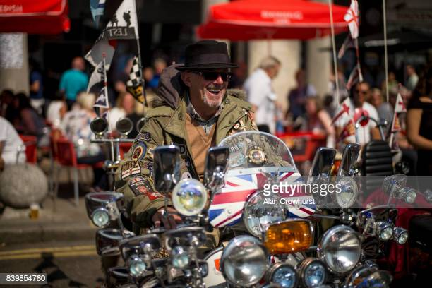 A rider sits on his scooter during The Mod Weekender on August 27 2017 in Brighton England Brighton became the meeting place for Mods on their...