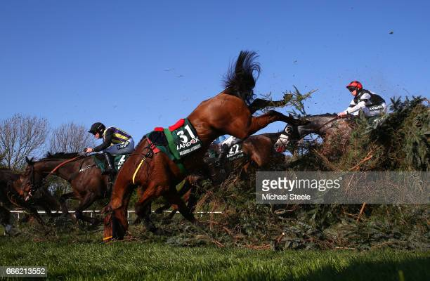 Riderless Measureofmydreams jumps during the 2017 Randox Heath Grand National at Aintree Racecourse on April 8 2017 in Liverpool England
