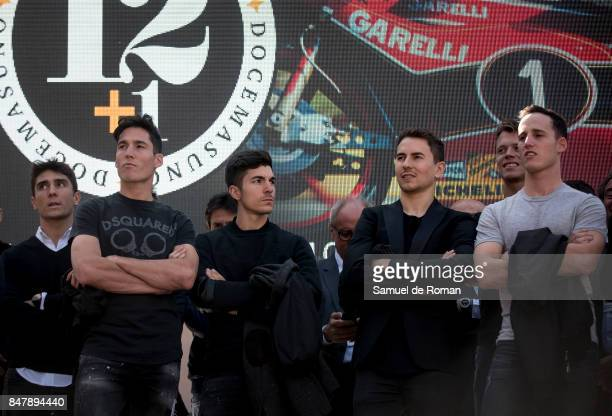 Riders Aleix Espargaro Maverick Vinales Jorge Lorenzo and Pol Espargaro during the Funeral Tribute For Angel Nieto in Madrid on September 16 2017 in...