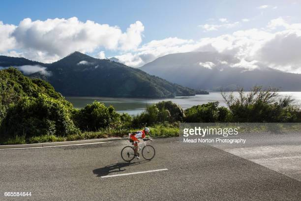 Riders along the Marlborough Sounds during the Tour of New Zealand on April 7 2017 in Picton New Zealand